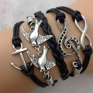 Antique Silver Swallow & Anchor & Infinity & Music
